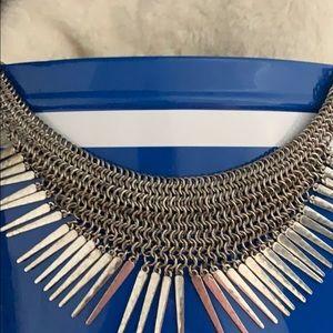 Silver tone chain necklace. *costume*